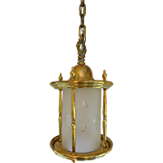 Brass Hanging  Lantern With Etched Frosted Glass