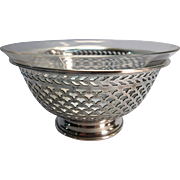 Sterling Silver and Glass Condiment Bowl With Pedestal Base