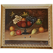 Still Life Oil Painting On Canvas Bowl Of Fruit Artist Signed