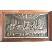 Large Bronzed Metal Relief of The Last Supper with Custom Made Frame