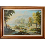 Old Country Landscape Acrylic Painting on Canvas Signed