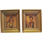 French Peasant Boy and Girl Prints by E. G. Co. With Wood Frames