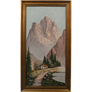 Original Art Oil Painting On Canvas Landscape Scene Signed