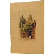 Etching in Paris Signed Robinson Hand Colored