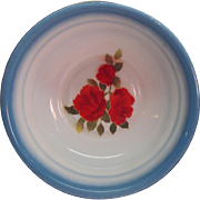 2 Vintage Bowls Enamel Ware With Beautiful Handpainted Red Roses By Diamond