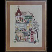 Whimsical Needlework Christmas  Large Framed, Signed
