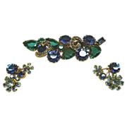 Austrian Pin and Clip Style Earring Set With Blue and Green Rhinestones