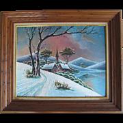 Oil Painting On Canvas Board Winter Scene Art Landscape signed