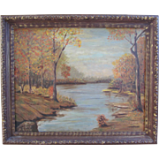 Oil on Canvas Board Landscape by Knudsen