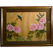 Japanese Painting on Silk Art  Bird With Flowers Signed