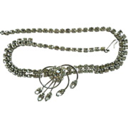 Beautiful Clear Rhinestone Necklace With Swirl Drop Design