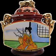 Dainty Porcelain Sugar Bowl Made In Japan Geisha Girl With Gold Gilding