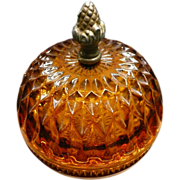 Amber Diamond Point Covered Candy Dish With Metal Acorn Finial
