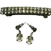 Hair Ornament and Pierced Earrings With Clear Rhinestones