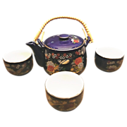 SOLD Cobalt Blue Porcelain Teapot and Cups ArtMark Japan