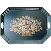 Large Black Tole Reticulated Tray With Fruit Harvest Design Signed