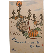 Hand Drawn Whimsical Thanksgiving Day Card 1936