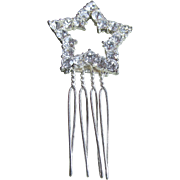 REDUCED Vintage Hair Comb With Clear Rhinestones Star Shape