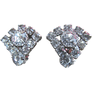 Clear Rhinestone Clip On Earrings