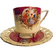 Vintage Royal Halsey Footed Teacup And Reticulated Saucer