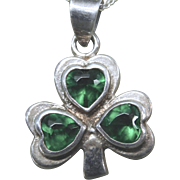 REDUCED Shamrock Clover Necklace Sterling 925 With Green Rhinestones