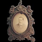 REDUCED Victorian Frame Brass Bronze Wash With Cherubs And F. Gutekunst Photograph