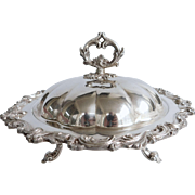 Silver plate Covered  And Footed Tureen With Ornate Design