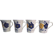 Porcelain Chocolate Cups (4) Blue and Yellow Floral Design Bavarian
