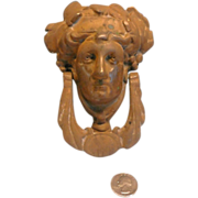 REDUCED Door Knocker Bacchus Face Solid Brass With Bronze Finish