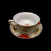 Porcelain Teacup With Saucer Floral and Scroll Design Japan