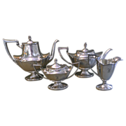 Silverplate  Coffee and Tea Service 4 Piece L.B.S. Co. Monogram 1920-30 c