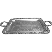 REDUCED Silverplate Double Handle Tray With Grape Relief By Gotham