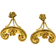 Victorian Style Reproduction Gold Filled Floral Motif Screwback Earrings