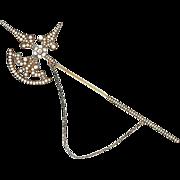 SALE Victorian 14K Yellow Gold Seed Pearl & Diamond Scottish Halberd Brooch