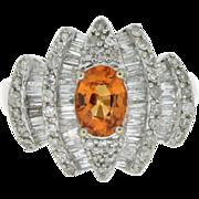 SALE Modern Estate 14K, Spessartite Garnet & Diamond Ring