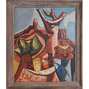 SOLD Llano County water hole Texas abstract modern landscape painting by Joseph Cain
