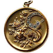 Antique Art Nouveau Gold Filled Locket - Brilliants - Circa 1900