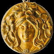 Small Antique Gold Filled Art Nouveau Locket - Circa 1900