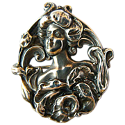 Large Magnificent Antique Art Nouveau Woman Silver Brooch - Circa 1910