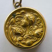 Small Antique Art nouveau Gold Filled & Diamond Locket - Beautiful - Circa 1900