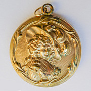 Large Antique Art Nouveau Beautiful Gold Filled Locket - Circa 1900