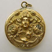 Locket - Gold Filled & Diamond Antique Art Nouveau - Circa 1900