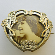 Brooch - French Antique Silver Plated Photo Brooch - Circa 1900