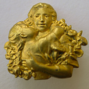 Brooch - Gold filled Antique French Art Nouveau Mother & Child - Circa 1900