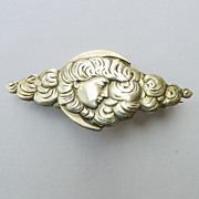 Bar Pin/Brooch - Unger Bros Antique Art Nouveau Sterling Silver - Circa 1900