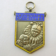 Pendant - French Sterling Silver Enameled Clown & Child - Dated 1934