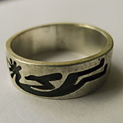 Mens Ring - Vintage Sterling Silver Hopi Kokopelli Hand Made - signed