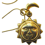 Sun & Moon Vintage Sterling Silver Gold Plated Pendants and Matching Sterling Chain