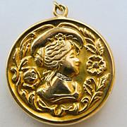 18kt Gold & Diamond Locket - Beautiful Antique French Art Nouveau - Circa 1900