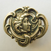 Brooch - Sterling Silver Front Antique Art Nouveau - Pristine - Circa 1900